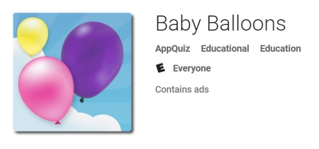Baby Balloons game by Edujoy Appquiz.
