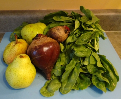 Organic beets, spinach, and pear
