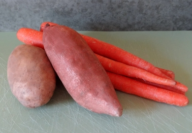 Organic potato, sweet potato, and carrots