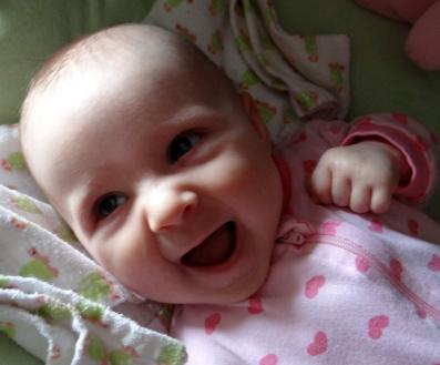 Newborn laughing