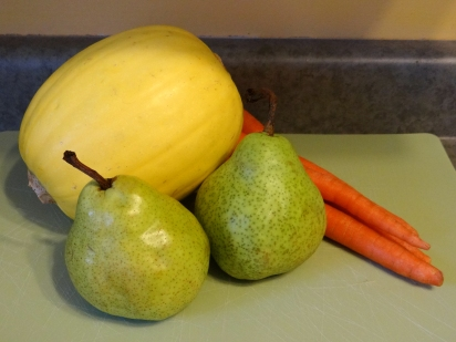 Organic spaghetti squash, carrots, and pears