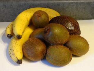 Organic banana, avocado, and kiwi