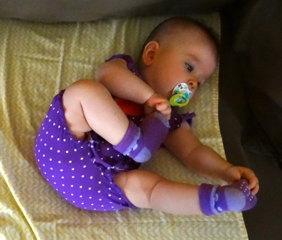 Funny baby stretches
