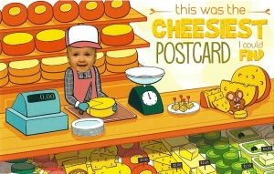 Peachy's Post Pal Club postcard featuring a cheese shop