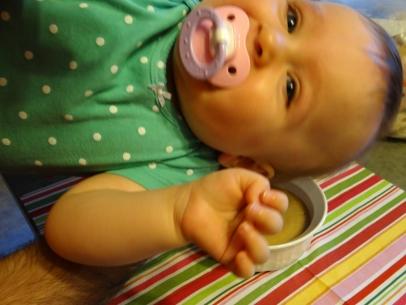Giggling baby photobomb