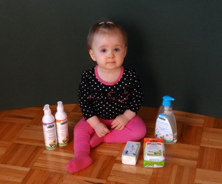 Baby with Aleva Naturals skin care products