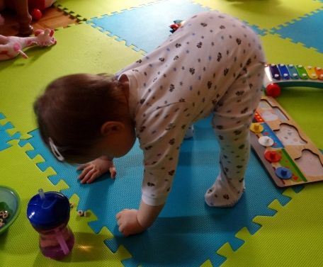 Funny baby on all fours