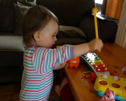 Peachy practicing the Xylophone