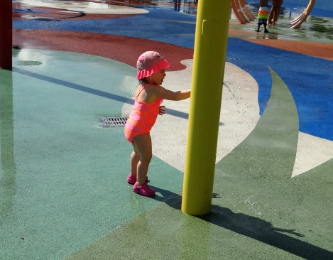 Peachy playing at the waterpark