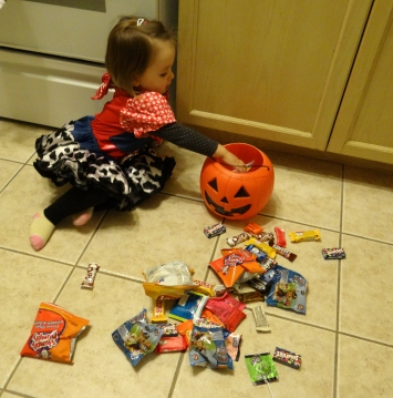 Peachy with her Halloween loot