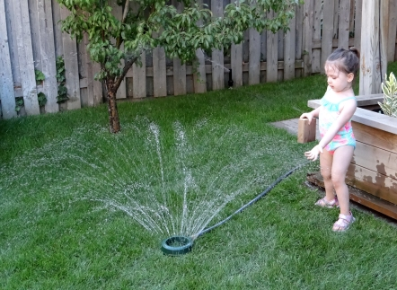 Toddler playing with a sprinkler